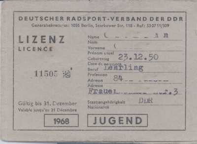 enlarge picture  - bicycle licence race GDR