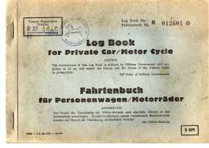 enlarge picture  - car log book post WW2
