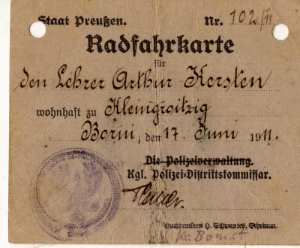 enlarge picture  - bicycle licence Prussia