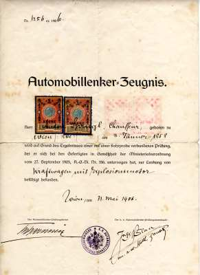 enlarge picture  - driving licence 1906 AU