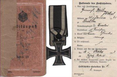 deutscher Militärpass Luftschiffer Btl.1