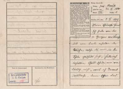 Brief vom 2. September 1939 aus dem Konzentrationslager Dachau