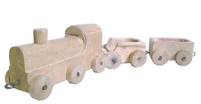 Spielzeug der deutschen Nachkriegszeit - Eisenbahnzug, geschnitzt