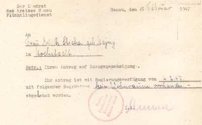 Ablehnung Wohnungsgesuch 1947