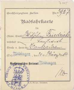 enlarge picture  - bicycle licence Hessen