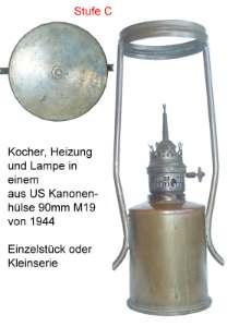 Petroleumlampe aus Kanonenhülse