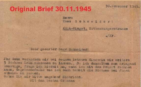 Brief 1945 Nachfrage wegen Leim