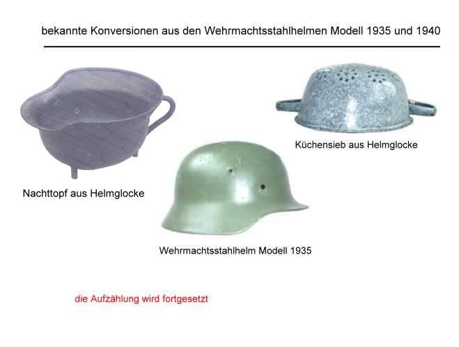 Darstellung von konvertierten Stahlhelmen der Nachkriegszeit