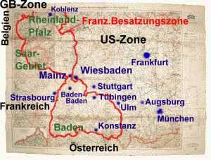 Karte der französischen Besatzungszone Deutschlands