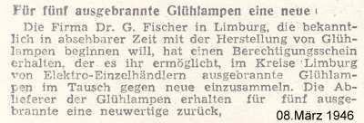 Zeitungsartikel 1946